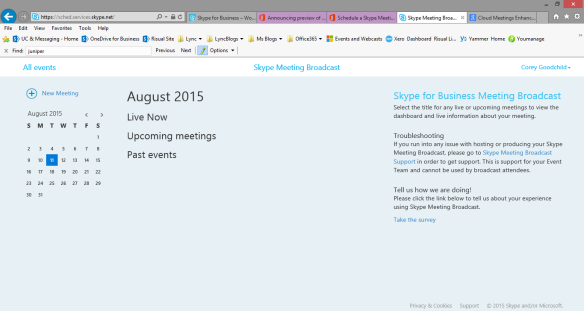 Meeting Schedule Page